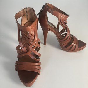 Zara Brown Leather Caged Heel Sandal 36